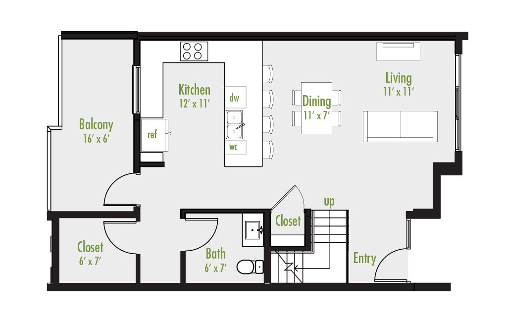 Level One floor plan | 3 Bedroom Townhome | 2.5 Bath | Study | 2,291-2,399 SF