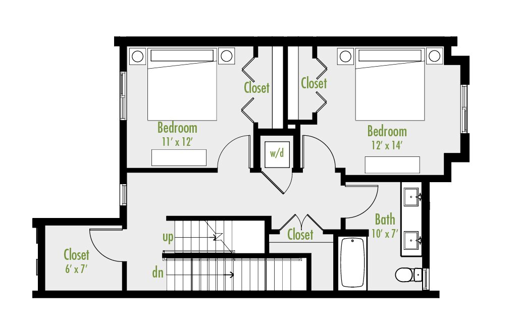 Level Two floor plan | 3 Bedroom Townhome | 2.5 Bath | Study | 2,291-2,399 SF