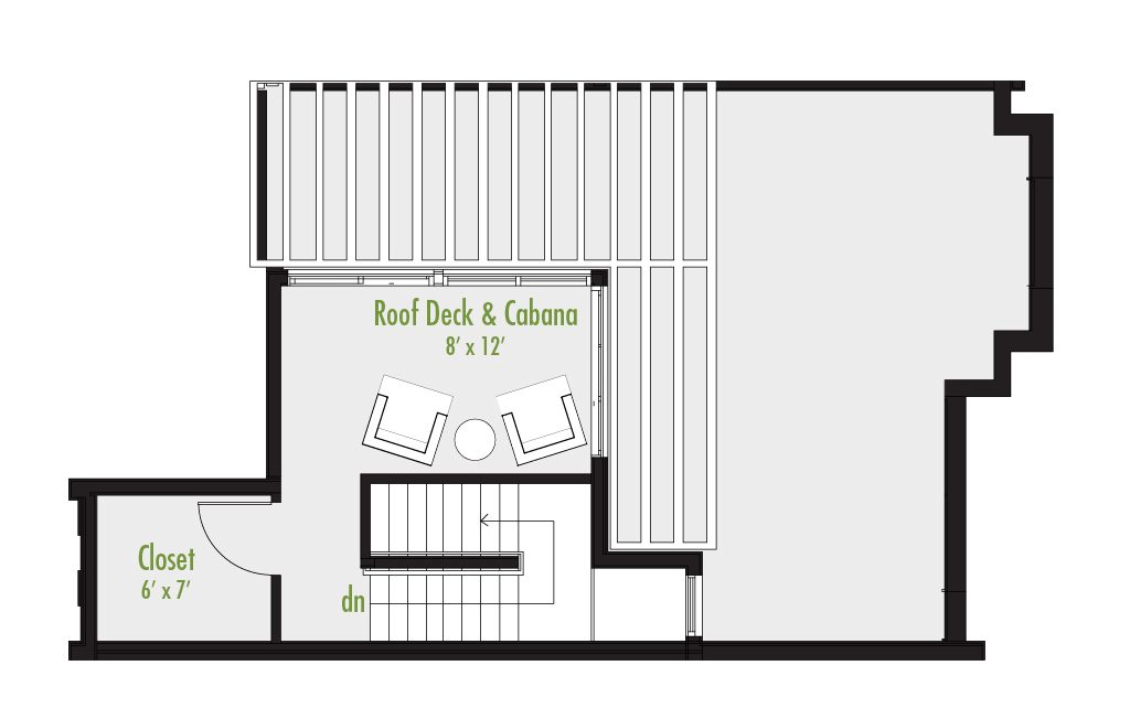 Level Four floor plan | 3 Bedroom Townhome | 2.5 Bath | Study | 2,291-2,399 SF