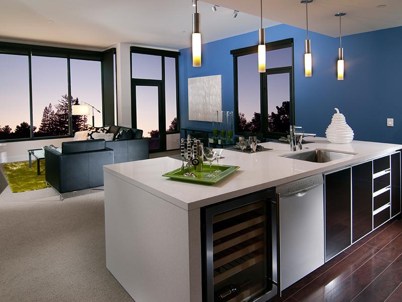 kitchen overlooking the living room