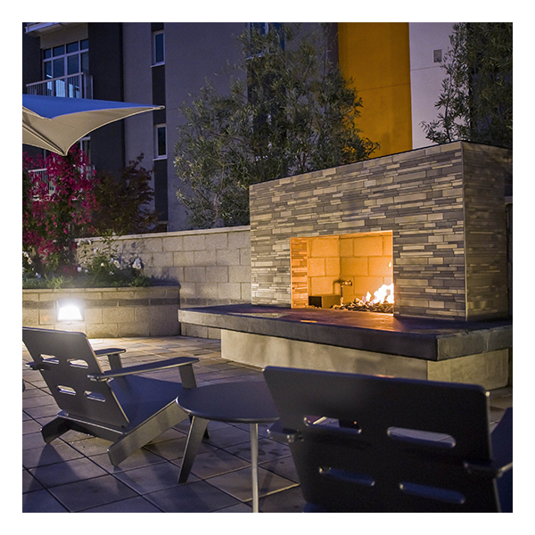 courtyard with a firepit